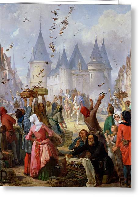 Entry Greeting Cards - The Return of Saint Louis Blanche of Castille to Notre Dame Paris Greeting Card by Pierre Charles Marquis