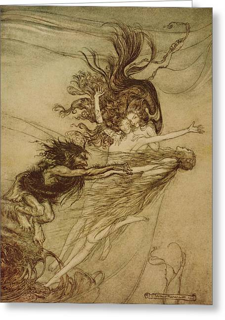 Goblins Greeting Cards - The Rhinemaidens teasing Alberich Greeting Card by Arthur Rackham