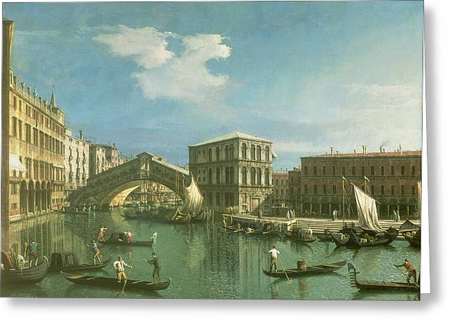 1768 Greeting Cards - The Rialto Bridge Greeting Card by Canaletto
