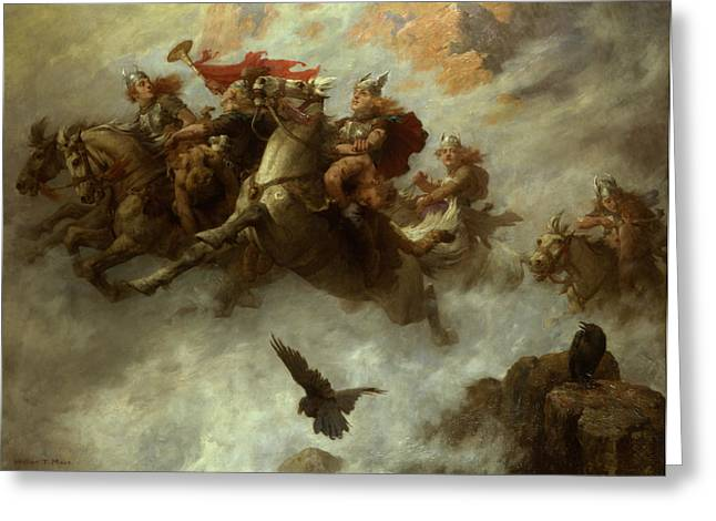 Wagner Greeting Cards - The Ride of the Valkyries  Greeting Card by William T Maud