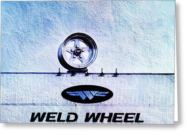 Shiny Mixed Media Greeting Cards - The Rim At Weld Wheels Industries  Greeting Card by Andee Design