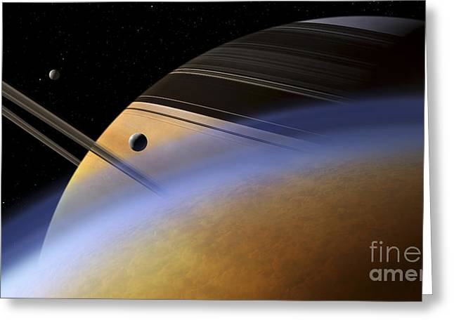 Rendition Greeting Cards - The Ringed Giant Saturn Rises Greeting Card by Steven Hobbs