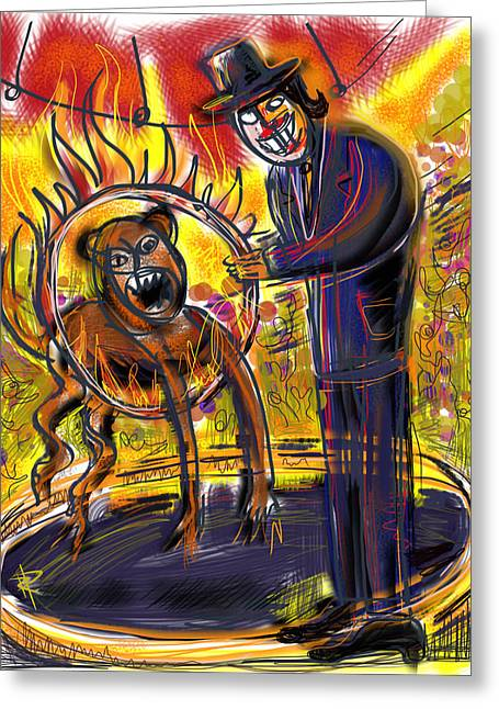 Crowd Mixed Media Greeting Cards - The Ringmaster at Circus Noir Greeting Card by Russell Pierce