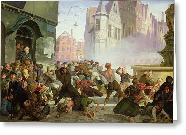 The Riot Greeting Card by Philip Hoyoll