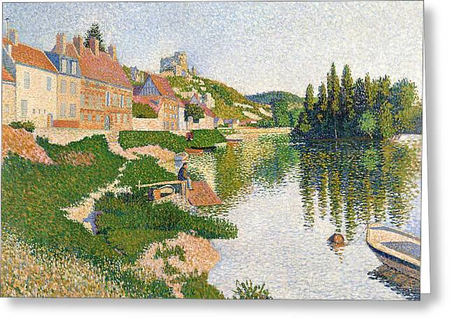 Pointillist Greeting Cards - The River Bank Greeting Card by Paul Signac