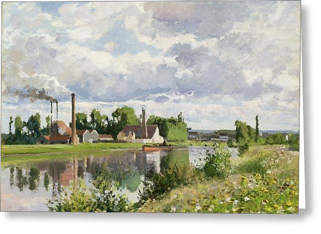 Camille Pissarro Paintings Greeting Cards - The River Oise near Pontoise Greeting Card by Camille Pissarro