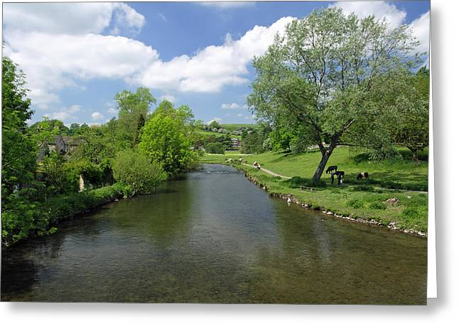 Waterway Greeting Cards - The River Wye from Bakewell Bridge Greeting Card by Rod Johnson