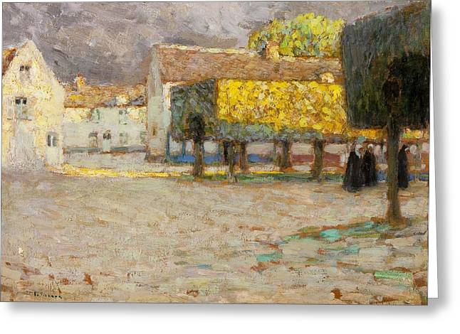 Village Views Greeting Cards - The Road - Songeons Greeting Card by Henri Eugene Augustin Le Sidaner
