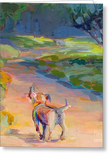 Puppy Paintings Greeting Cards - The Road Ahead Greeting Card by Kimberly Santini