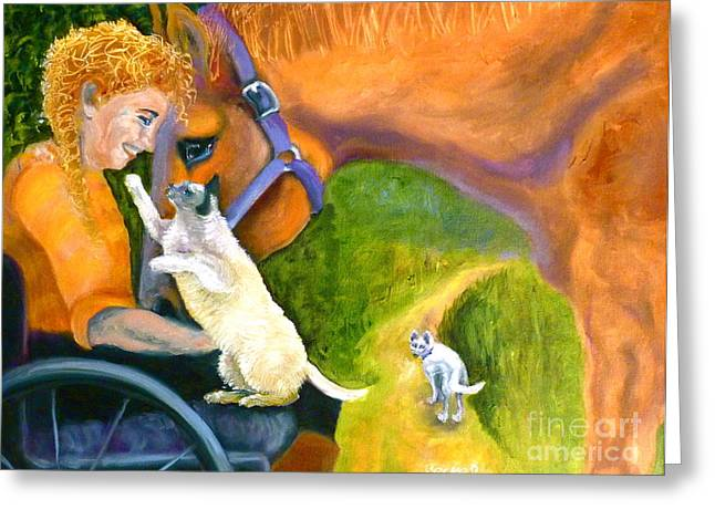 Cat Woman Greeting Cards - The Road Ahead Greeting Card by Susan A Becker