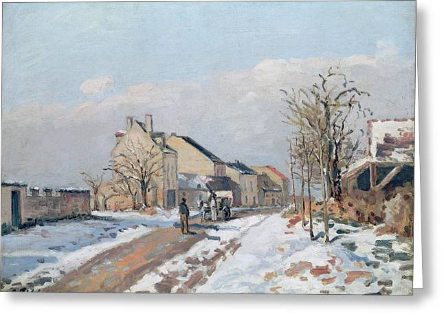 Wintry Greeting Cards - The Road from Gisors to Pontoise Greeting Card by Camille Pissarro