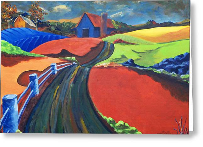 Roadway Paintings Greeting Cards - The Road Home Greeting Card by David Carter