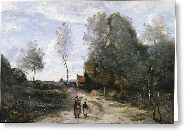 The Trees Greeting Cards - The Road Greeting Card by Jean Baptiste Camille Corot