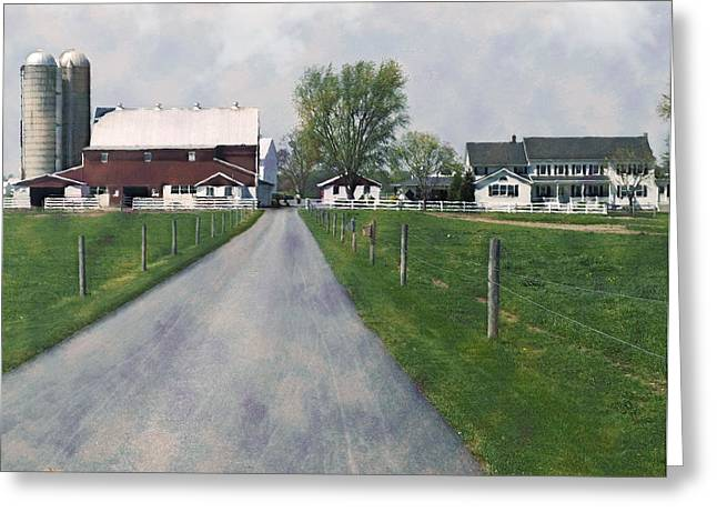 Amish Greeting Cards - The Road That Leads To Home Greeting Card by Kathy Jennings