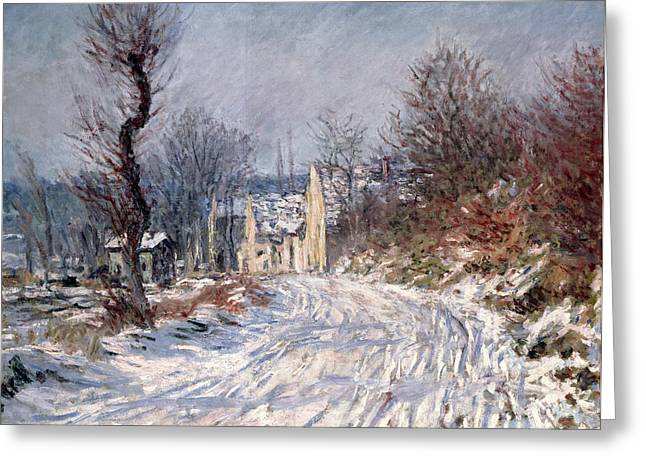 Snowfall Greeting Cards - The Road to Giverny in Winter Greeting Card by Claude Monet