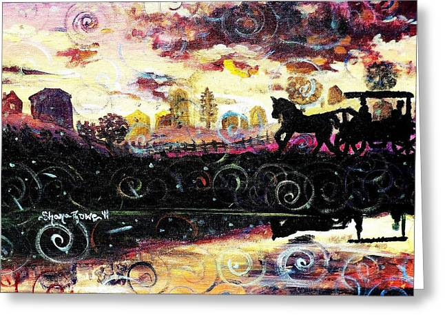 Horse And Buggy Paintings Greeting Cards - The Road to Home Greeting Card by Shana Rowe