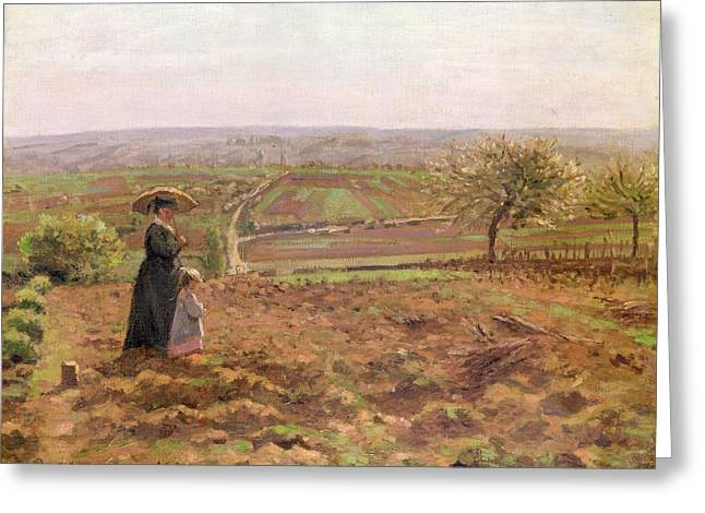 Mothering Sunday Greeting Cards - The Road to Rouen Greeting Card by Camille Pissarro