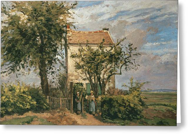 Roads Paintings Greeting Cards - The Road to Rueil Greeting Card by Camille Pissarro