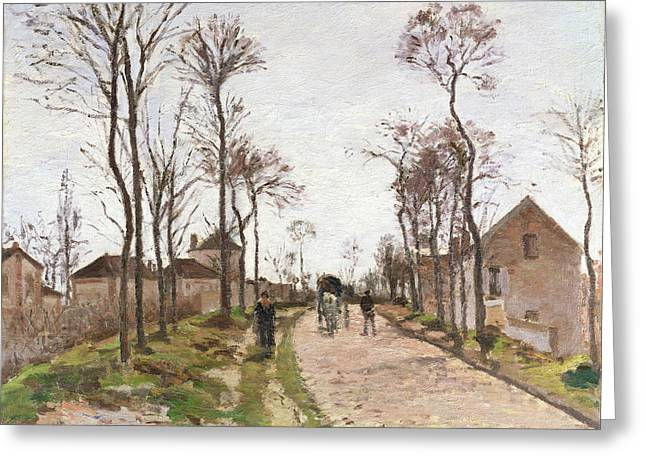 Camille Pissarro Greeting Cards - The Road to Saint Cyr at Louveciennes Greeting Card by Camille Pissarro