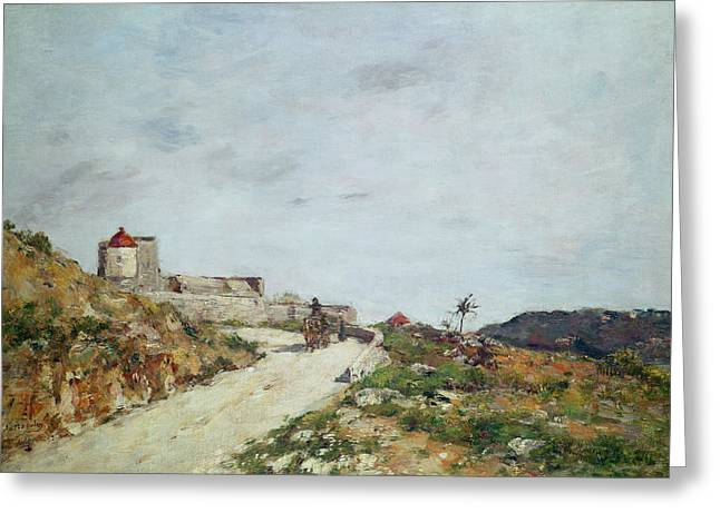 Horse And Cart Paintings Greeting Cards - The Road to the Citadel at Villefranche Greeting Card by Eugene Louis Boudin