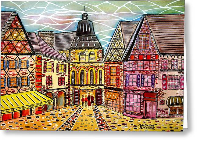 Old Pizza House Greeting Cards - The Road to the Temple Greeting Card by Valentina Kross