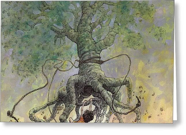 The Roaming Oak Greeting Card by Ethan Harris