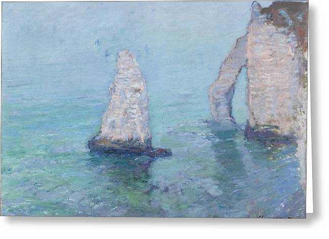 Etretat Greeting Cards - The Rock Needle and the Porte dAval Greeting Card by Claude Monet