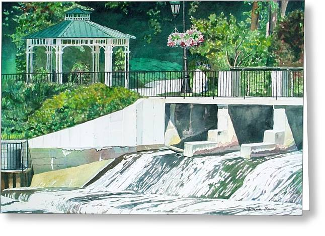 Rockford Greeting Cards - The Rockford Dam Greeting Card by LeAnne Sowa