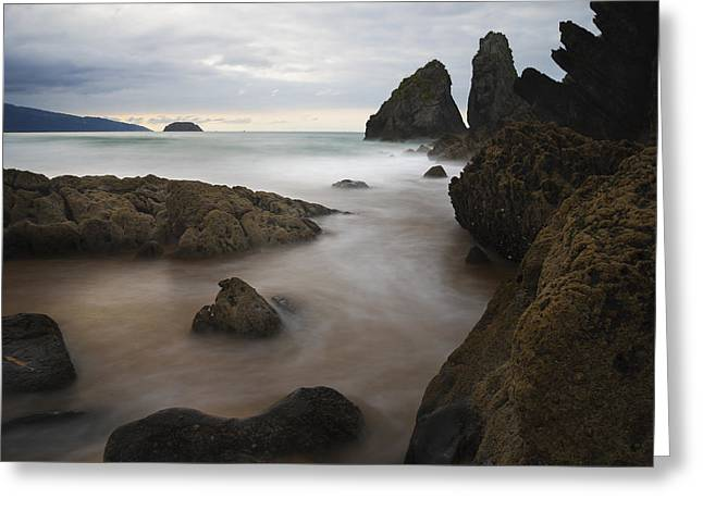 Pais Vasco Greeting Cards - The rocks of Laga beach Greeting Card by Fernando Alvarez