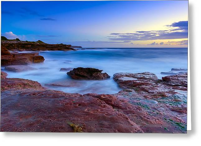 Seascape With Clouds Greeting Cards - The Rocky Coast Greeting Card by Mark Lucey