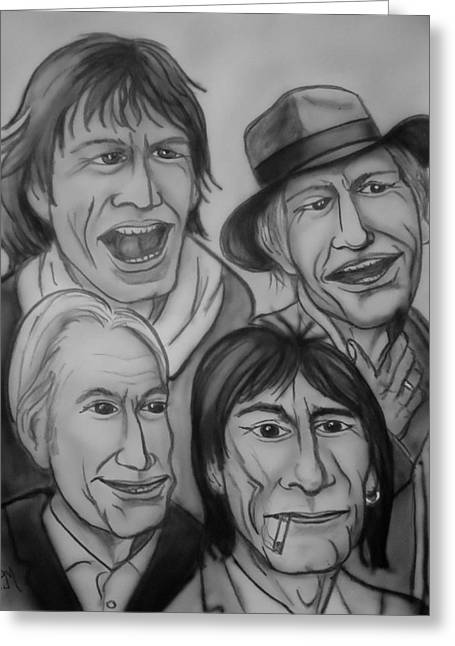 Rolling Stones Digital Art Greeting Cards - The Rolling Stones Black and White Greeting Card by Pete Maier