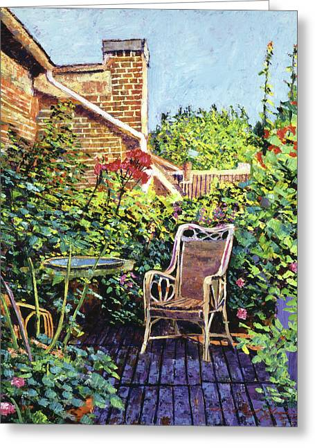 Most Paintings Greeting Cards - The Roof Garden Greeting Card by David Lloyd Glover