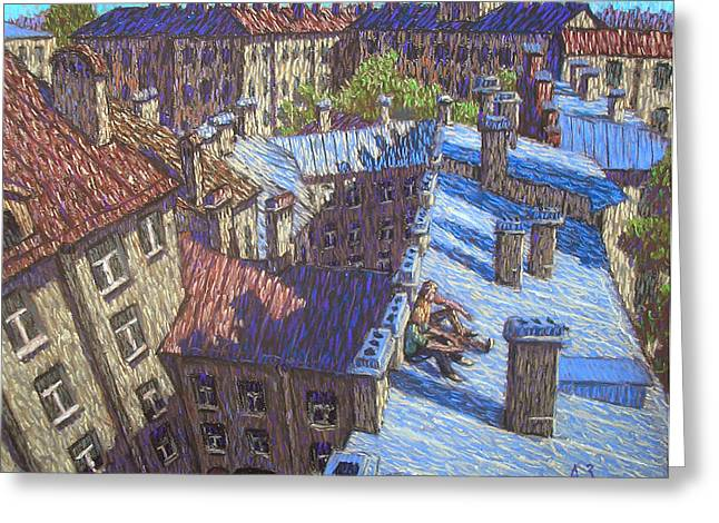 Graphic Pastels Greeting Cards - The roofs Greeting Card by Aleksey Zuev