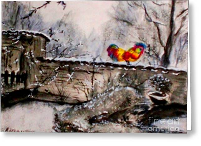 Stonewall Mixed Media Greeting Cards - The Rooster Greeting Card by Helena Bebirian