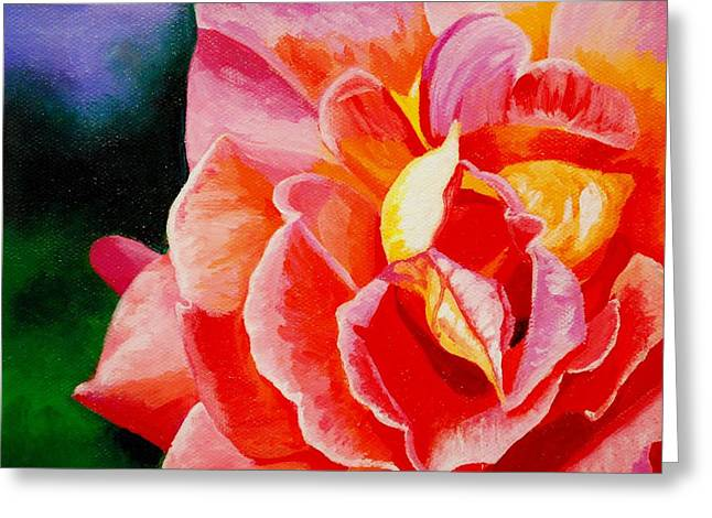 Salmon Paintings Greeting Cards - The Rose Greeting Card by Melanie Cossey