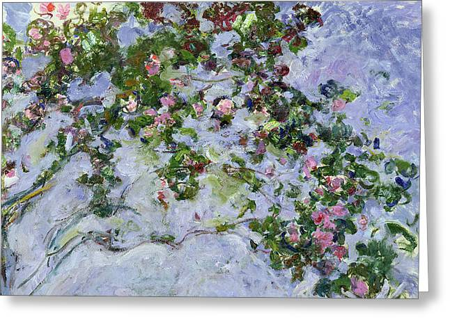 Tasteful Greeting Cards - The Roses Greeting Card by Claude Monet