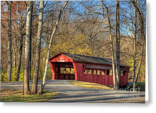 Covered Bridge Greeting Cards - The Ross Covered Bridge Greeting Card by Pamela Baker