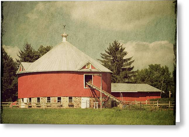 Round Barn Greeting Cards - The Round Barn Greeting Card by Joel Witmeyer