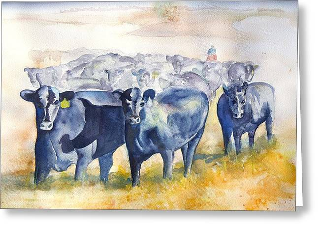 The Fall Of The Cowboy Greeting Cards - The Round Up Cattle Drive  Greeting Card by Sharon Mick