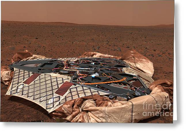 Roving Greeting Cards - The Rovers Landing Site, The Columbia Greeting Card by Stocktrek Images