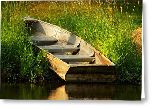 Row Boat Greeting Cards - The Rowboat Greeting Card by Joyce Kimble Smith