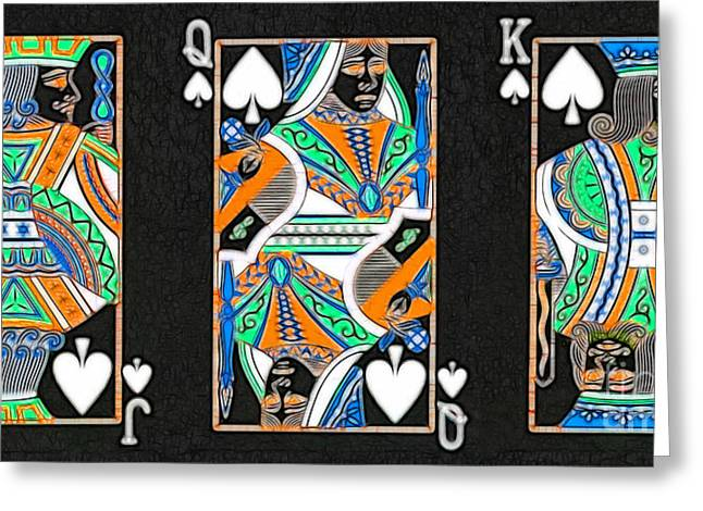 Deck Of Cards Greeting Cards - The Royal Spade Family Greeting Card by Wingsdomain Art and Photography