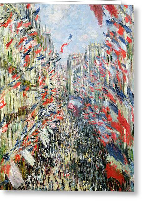 Tricolored Greeting Cards - The Rue Montorgueil Greeting Card by Claude Monet