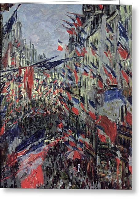 Parades Greeting Cards - The Rue Saint Denis Greeting Card by Claude Monet