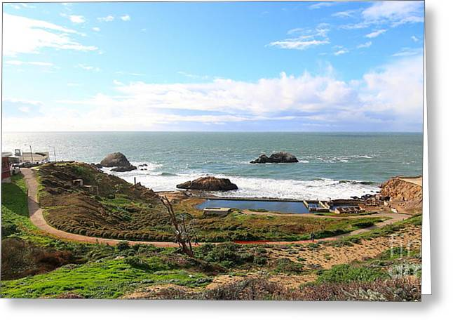 Adolph Greeting Cards - The Ruins of Sutro Baths in San Francisco  . 40D4312 . Long Cut Greeting Card by Wingsdomain Art and Photography