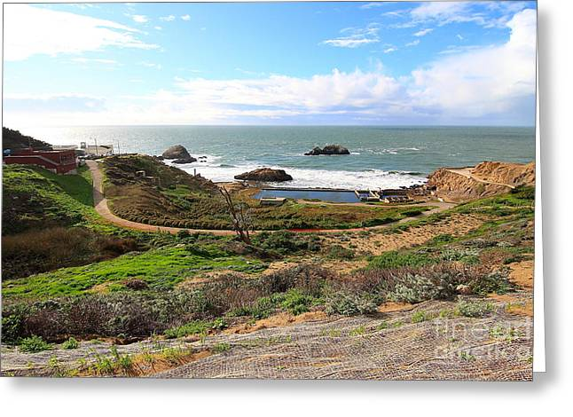 Adolph Greeting Cards - The Ruins of Sutro Baths in San Francisco  . 40D4312 Greeting Card by Wingsdomain Art and Photography