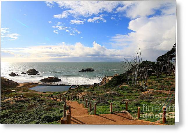 Adolph Greeting Cards - The Ruins of Sutro Baths in San Francisco  . 40D4330 Greeting Card by Wingsdomain Art and Photography