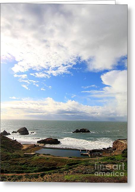 Adolph Greeting Cards - The Ruins of Sutro Baths in San Francisco  . 40D4336 Greeting Card by Wingsdomain Art and Photography
