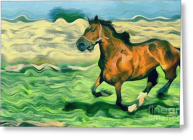 Dewdrops Paintings Greeting Cards - The running horse Greeting Card by Odon Czintos