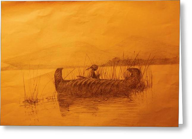 Canoe Drawings Greeting Cards - The Rush Gatherer Greeting Card by Ronald Gillis